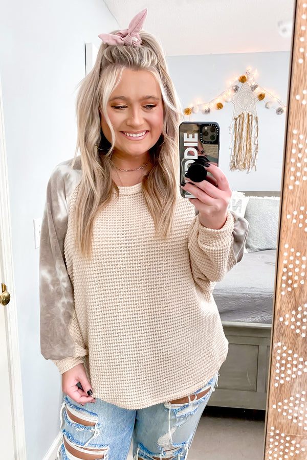 S / Oatmeal Malta Marbled Contrast Waffle Knit Top - Madison and Mallory