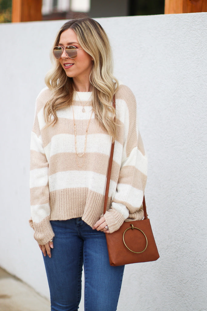 S / Taupe Can't Compare Striped Sweater - Madison + Mallory