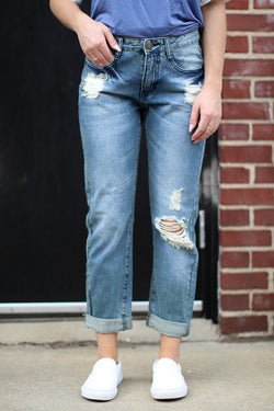 0 / Md. Wash Harper Boyfriend Jeans - Madison + Mallory