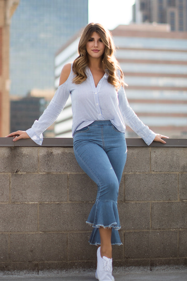 S / Chambray Long Sleeve Cold Shoulder Striped Top - FINAL SALE - Madison + Mallory