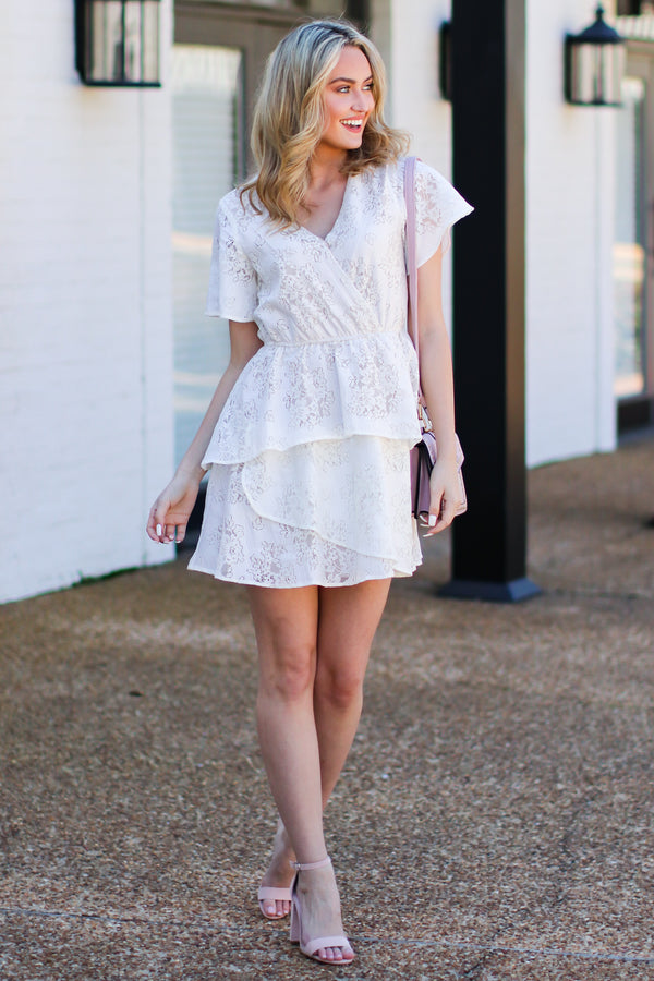 Elegant Touch Flutter Lace Dress - FINAL SALE - Madison and Mallory