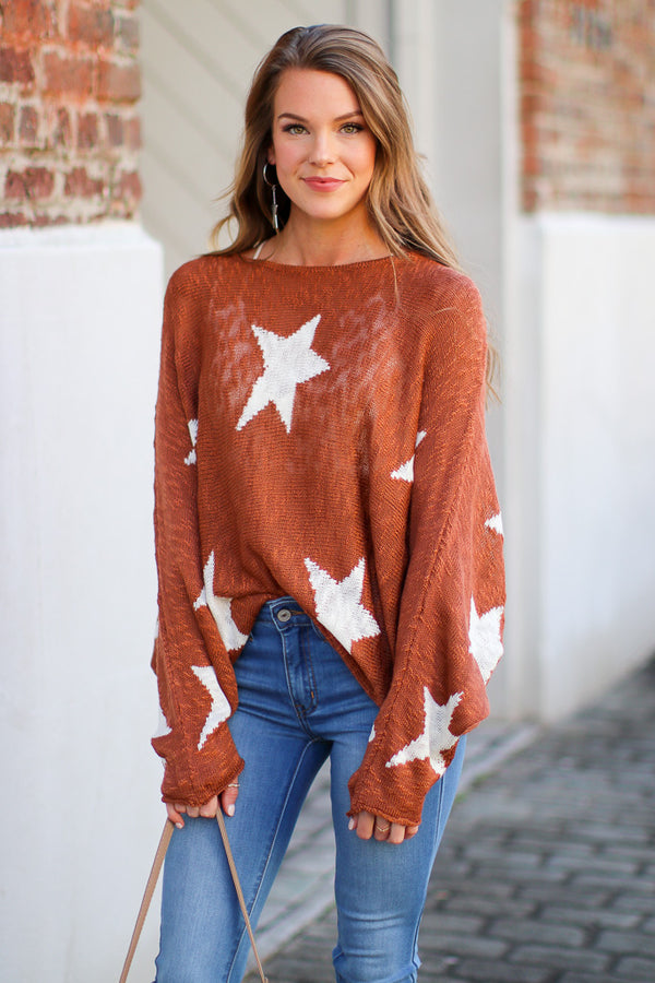 SM / Rust Cosmos Star Sweater - Madison + Mallory