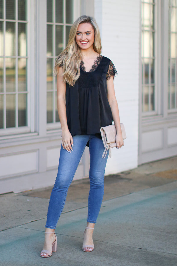 Black / S Athenian Satin Lace Top - Black - Madison + Mallory