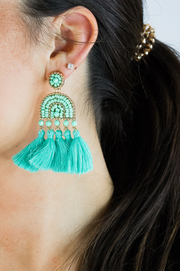 OS / Mint Brynlee Tassel Earrings - Madison + Mallory