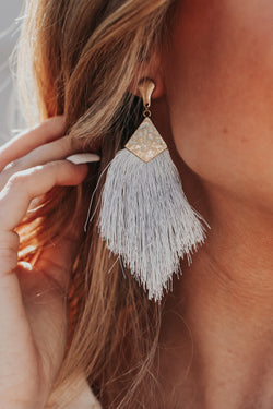 Light Gray Shake It Up Tassel Earrings - Light Gray - Madison and Mallory