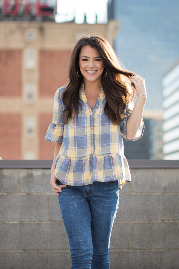 S / Yellow Mad about Plaid Top - Madison + Mallory