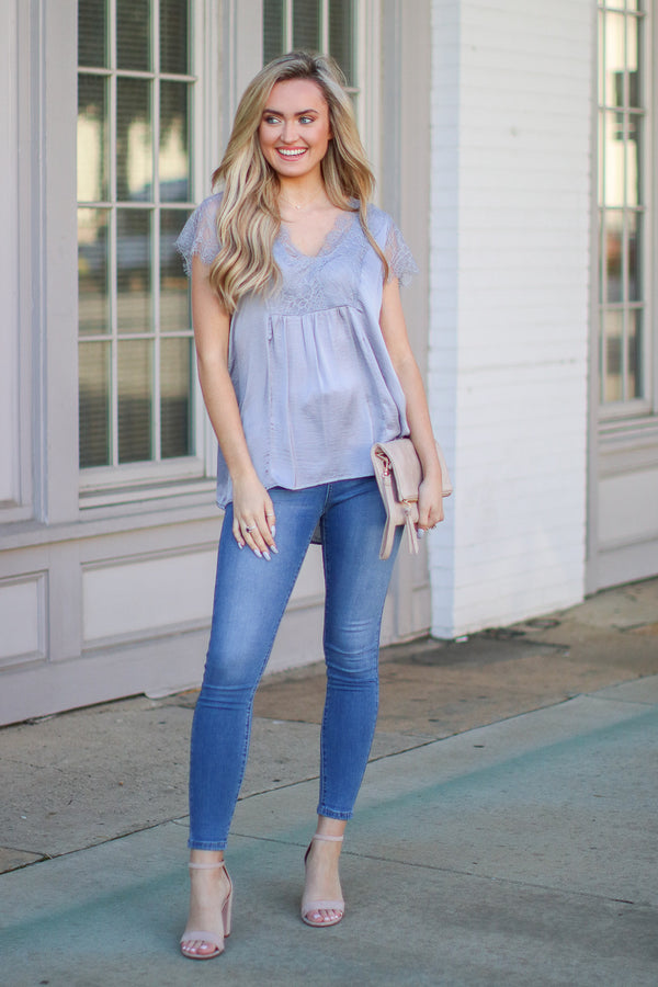 Athenian Satin Lace Top - Lavender - Madison + Mallory