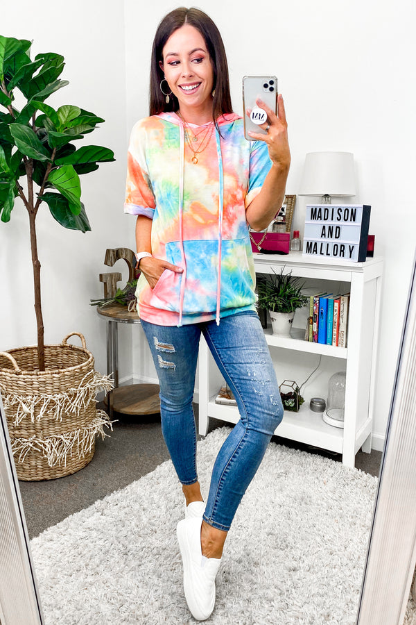S / Multi Drop a Beat Tie Dye Hooded Top - FINAL SALE - Madison and Mallory