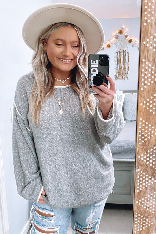 Gray / S Drayton Two Tone Knit Sweater - Madison and Mallory