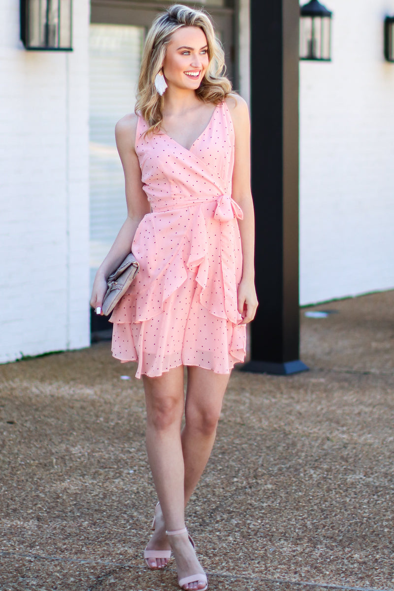 Delicate Balance Polka Dot Surplice Dress - FINAL SALE - Madison and Mallory