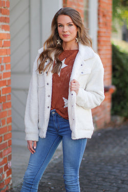 S / White New Trails Sherpa Trucker Jacket - Madison + Mallory