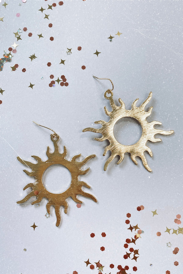 Gold Lost Princess Sunburst Earrings - Madison and Mallory