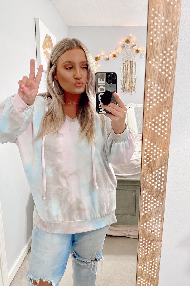 S / Gray Ask Around Tie Dye Hooded Top - FINAL SALE - Madison and Mallory
