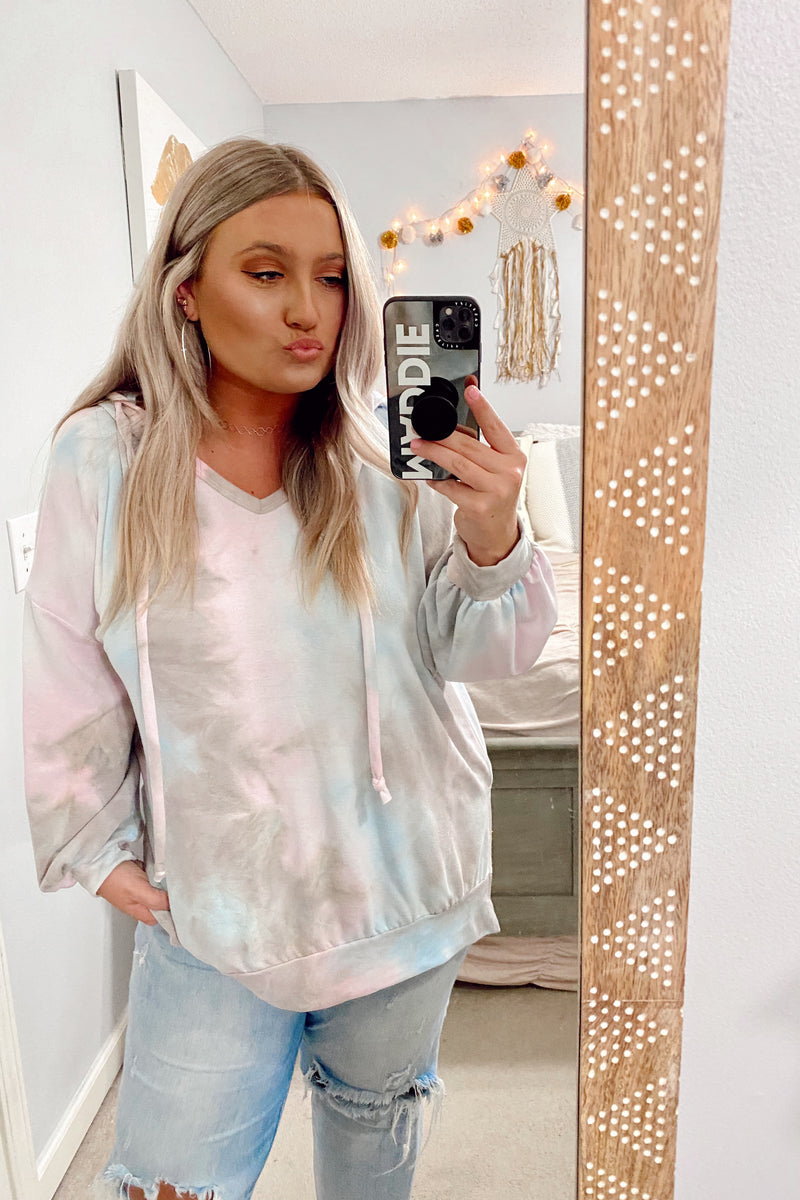 Ask Around Tie Dye Hooded Top - FINAL SALE - Madison and Mallory