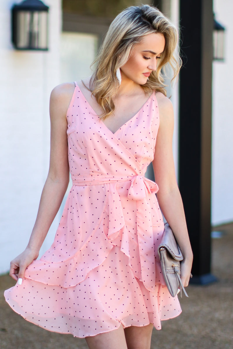 S / Pink Delicate Balance Polka Dot Surplice Dress - FINAL SALE - Madison and Mallory