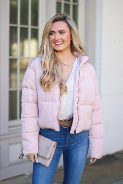 S / Dusty Pink Winter Daze Puffer Jacket - Madison + Mallory