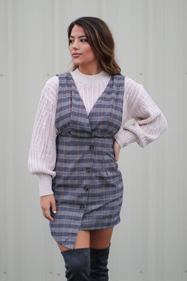 S / Navy Karyn Plaid Dress - Madison + Mallory