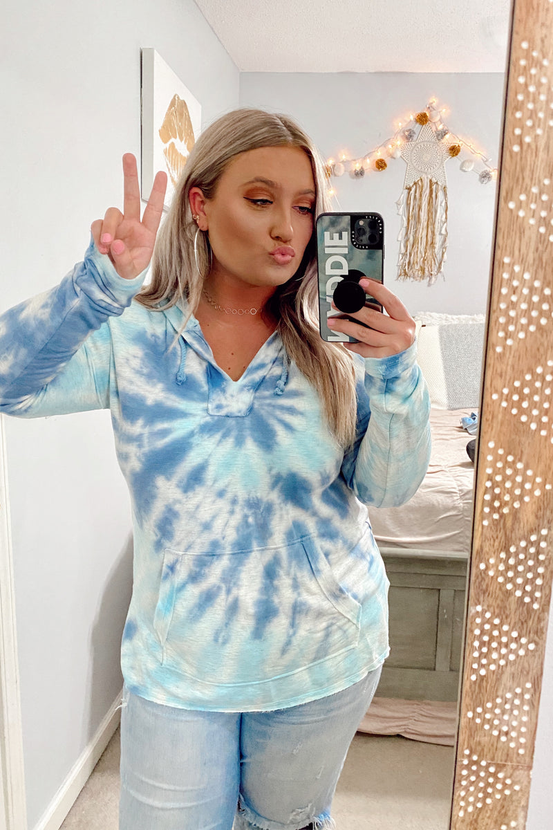 Tidal Wave Tie Dye Hooded Top - Madison and Mallory