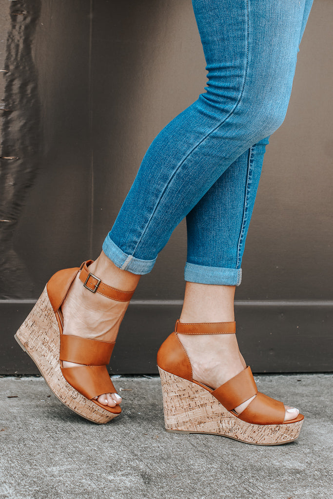 6 / Tan Making My Way Cutout Wedges - FINAL SALE - Madison + Mallory