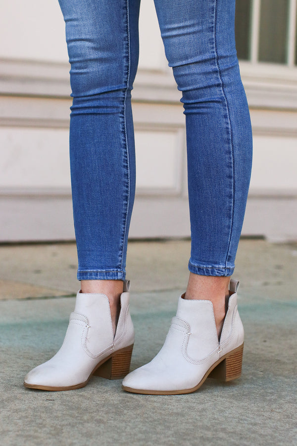 5.5 / Stone Market Street Faux Leather Booties - Madison + Mallory