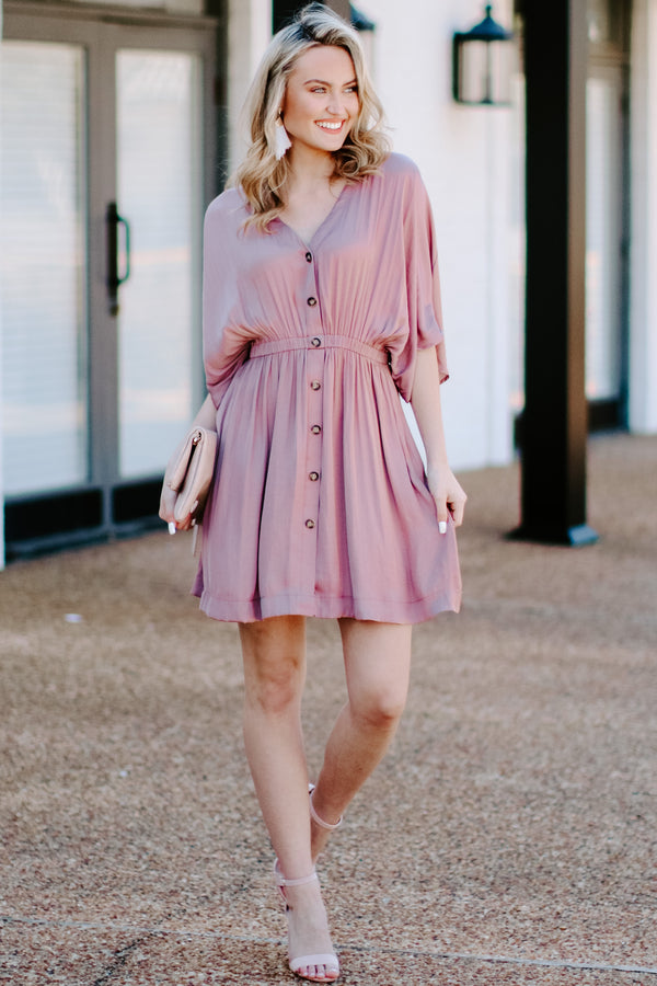 Durant Button Front Dress - Mauve - Madison and Mallory