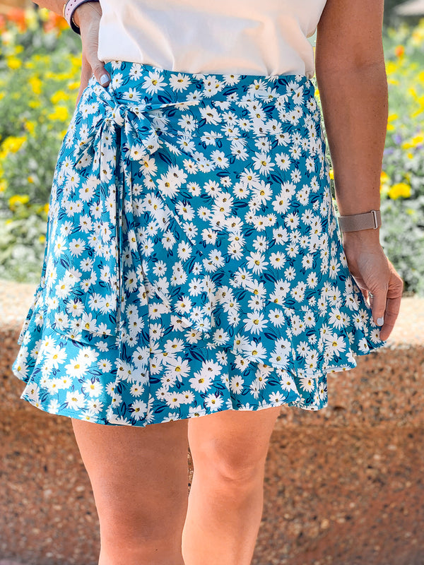 Fool for You Floral Wrap Skirt - Teal - FINAL SALE - Madison + Mallory