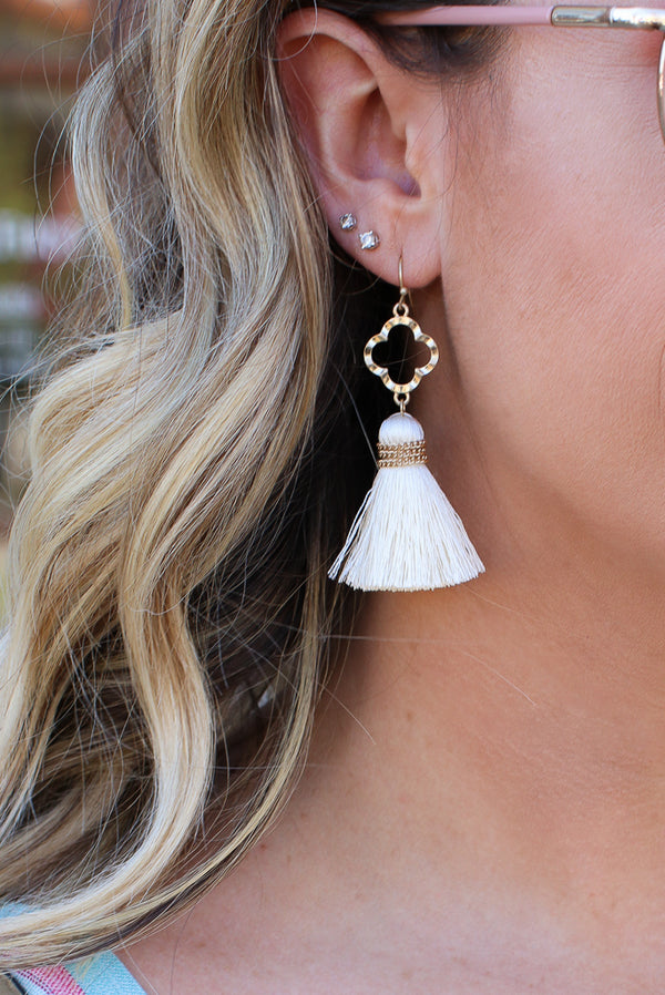 OS / Ivory Gilded Grace Tassel Earrings - Madison + Mallory