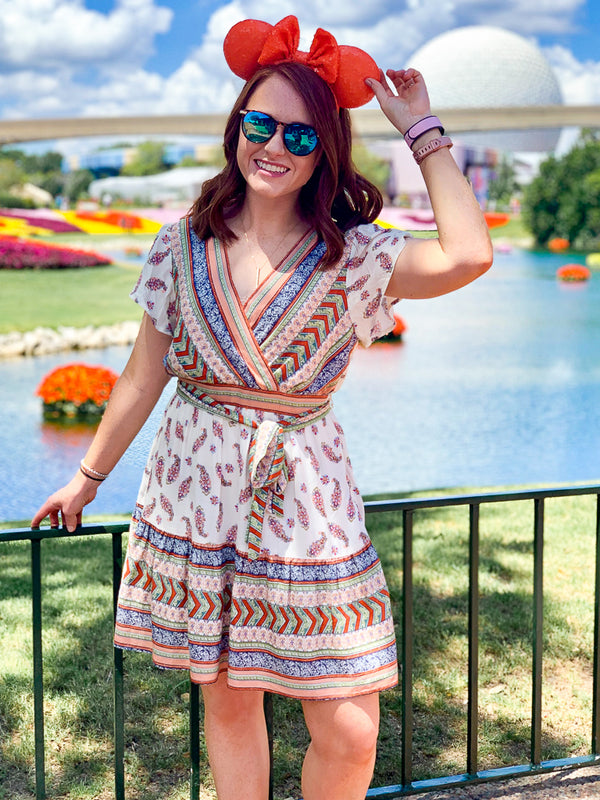 S / Multi See You There Surplice Printed Dress - Madison + Mallory