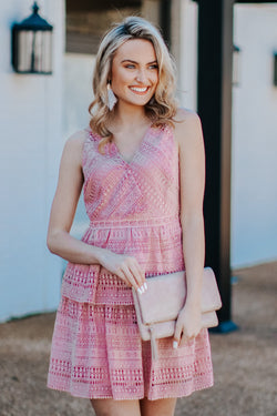 Mauve / S Just Add Moonlight Lace Tiered Dress - FINAL SALE - Madison and Mallory