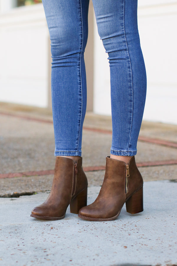 6 / Brown Abbey Road Faux Leather Booties - Brown - FINAL SALE - Madison + Mallory