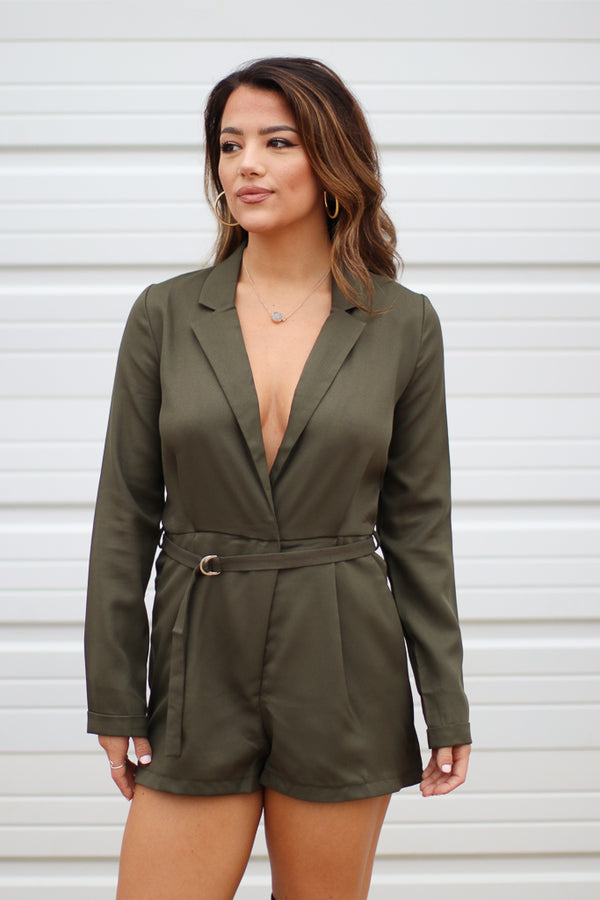 S / Olive Kyanna Draped Romper - Madison + Mallory