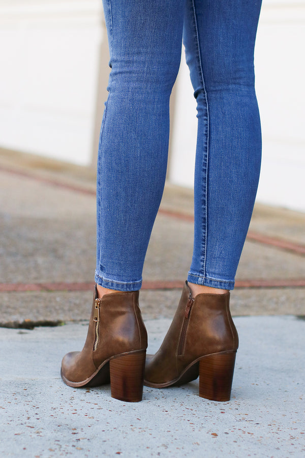 Abbey Road Faux Leather Booties - Brown - FINAL SALE - Madison + Mallory