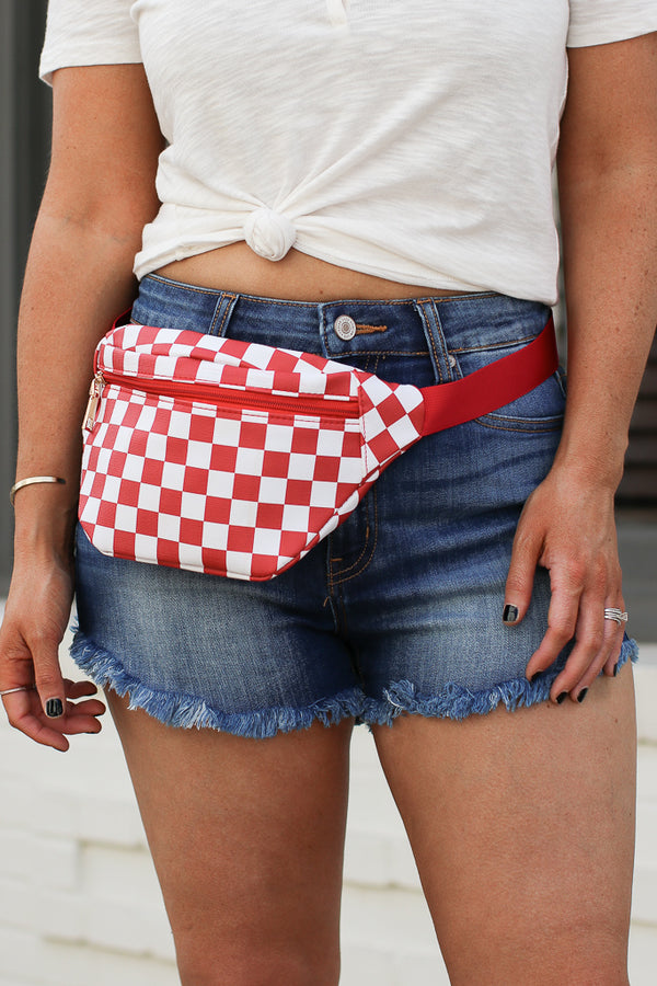 Red Checked Out Print Fanny Pack - Red - Madison + Mallory