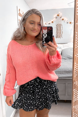 S / Coral Jenna Cable Knit Sleeve Sweater - Madison and Mallory