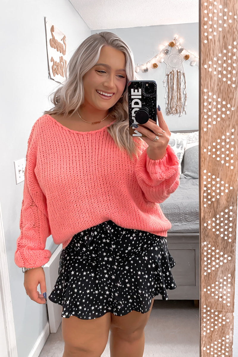 Jenna Cable Knit Sleeve Sweater - Madison and Mallory
