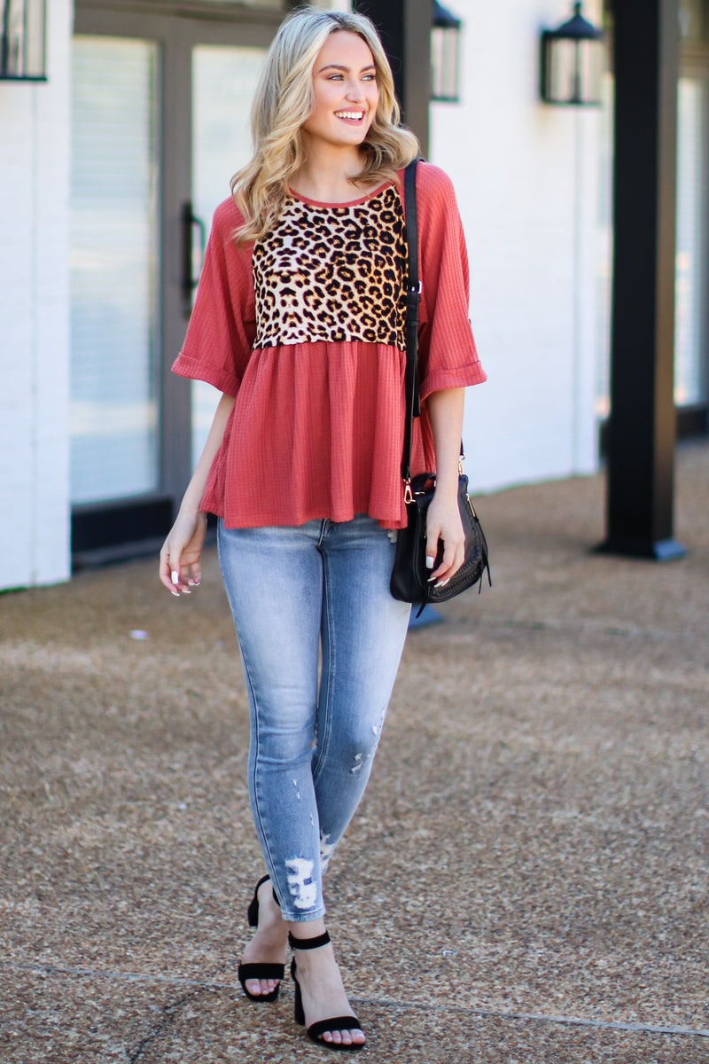 Petra Contrast Leopard Top - Brick - Madison and Mallory