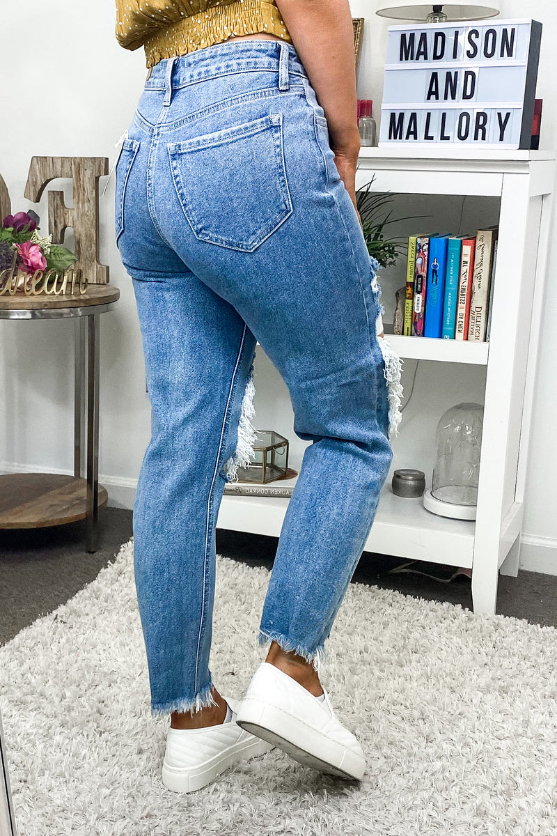 Telia Distressed Straight Leg Jeans - Madison and Mallory