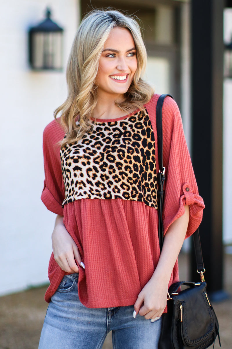 Brick / S Petra Contrast Leopard Top - Brick - Madison and Mallory