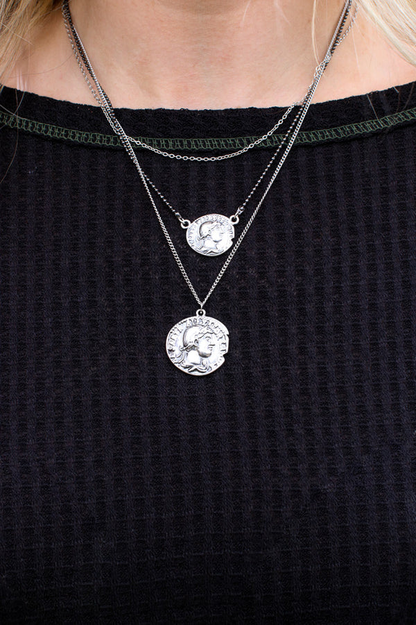 OS / Silver Count on It Layered Coin Necklace - Madison + Mallory