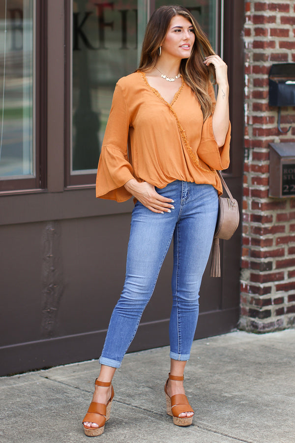 Worth the Wait Lace Surplice Top - FINAL SALE - Madison + Mallory