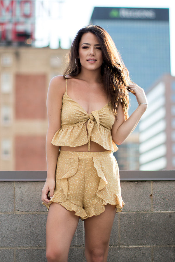 S / Mustard Ruffle Dot Top and Shorts Set - FINAL SALE - Madison + Mallory