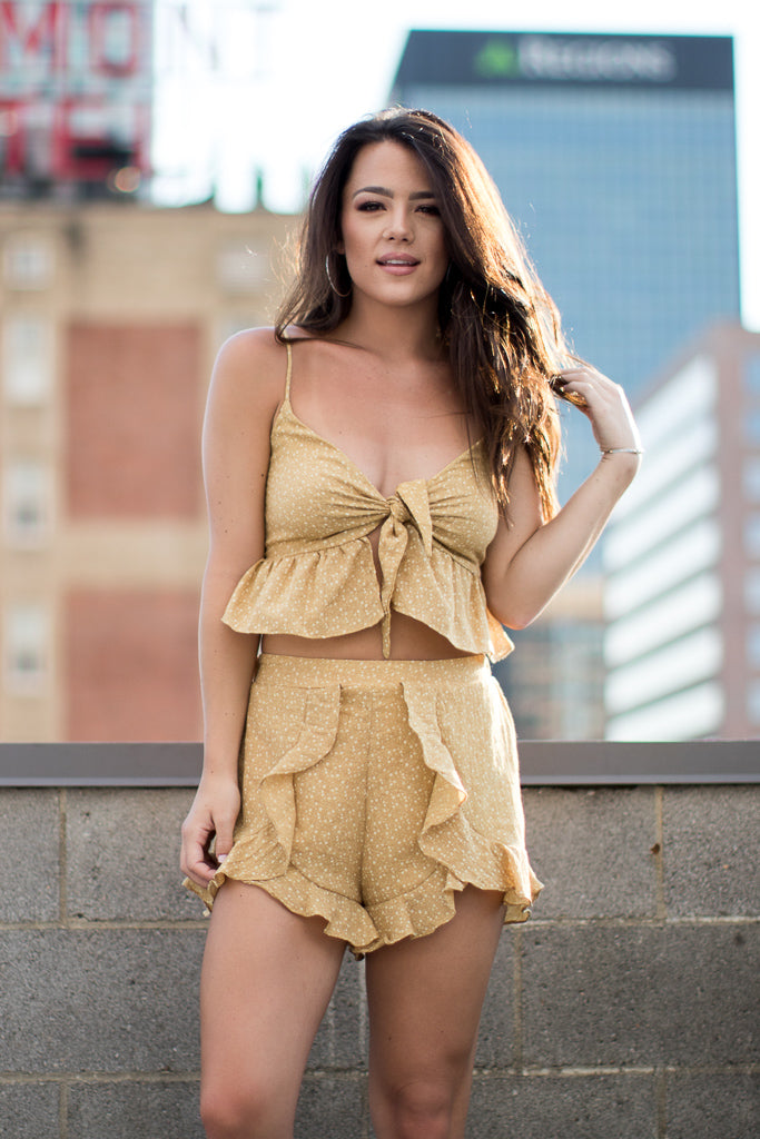 S / Mustard Ruffle Dot Top and Shorts Set - Madison + Mallory