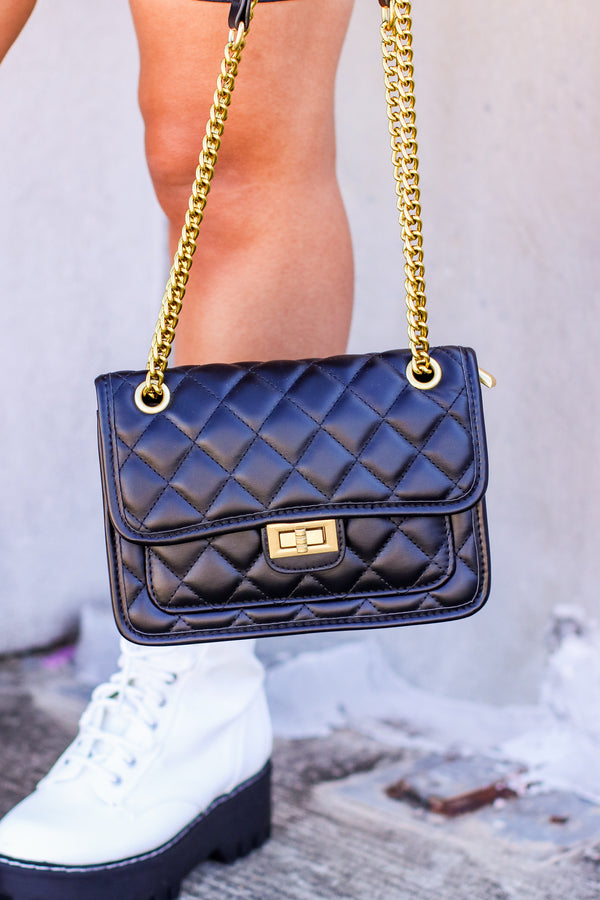 Black Luxe it Up Quilted Crossbody Bag - Madison and Mallory