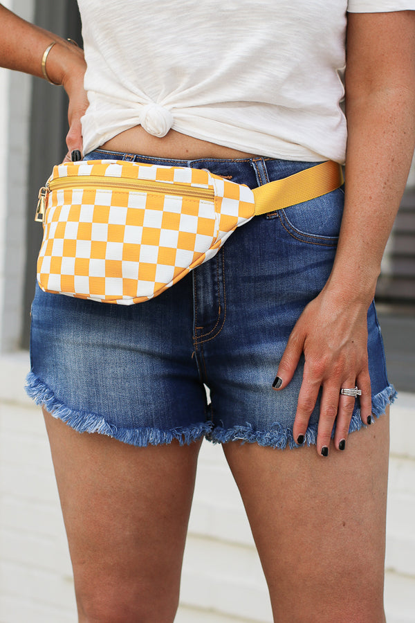 Yellow Checked Out Print Fanny Pack - Yellow - Madison + Mallory