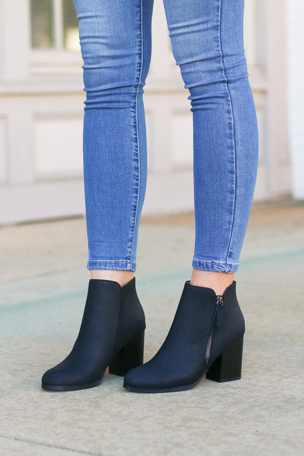 Black / 5.5 Nob Hill Zipper Booties - Black - Madison and Mallory
