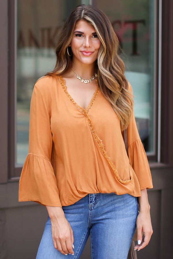 S / Ginger Worth the Wait Lace Surplice Top - FINAL SALE - Madison + Mallory