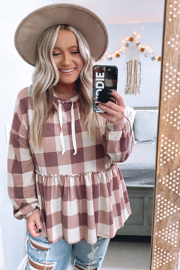 Burgundy / S Right Away Plaid Peplum Hoodie Top - Madison and Mallory