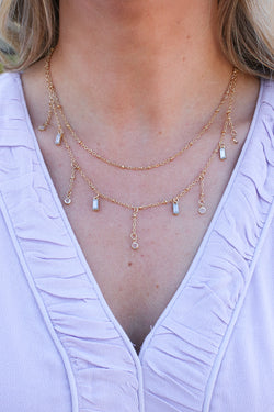 OS / Gold Memory Keeper Crystal Fringe Drop Necklace - Madison + Mallory