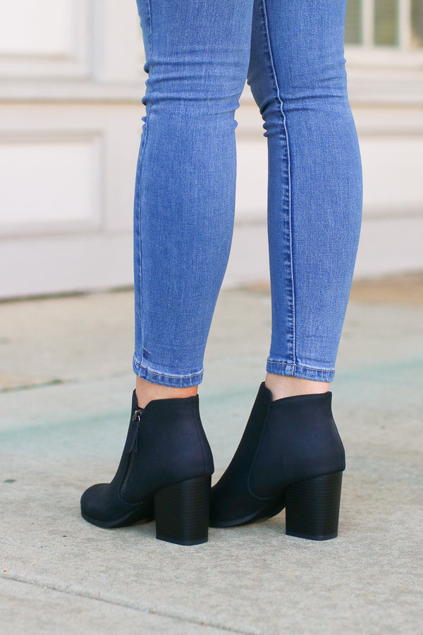 Nob Hill Zipper Booties - Black - Madison and Mallory