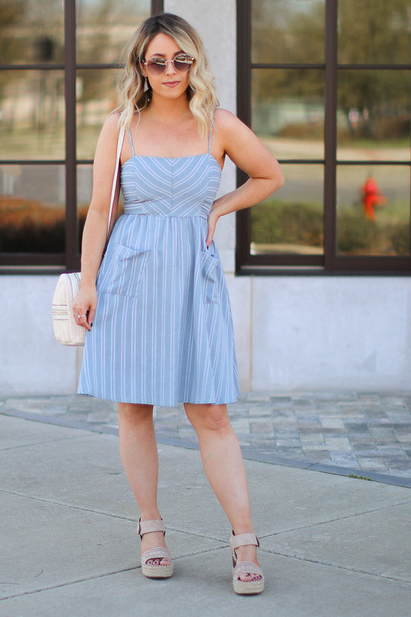 S / Gray Charleston Striped Dress - FINAL SALE - Madison + Mallory